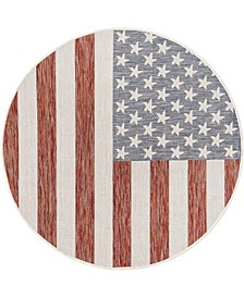 Outdoor Old Glory 4' x 4' Round Area Rug