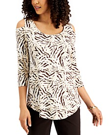Petite Cold-Shoulder 3/4-Sleeve Top, Created for Macy's