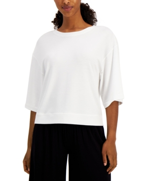 Cropped Elbow-Sleeve Top