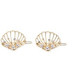 INC 2-Pc. Gold-Tone Pavé & Imitation Pearl Seashell Hair Barrette Set, Created for Macy's