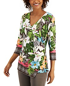 Printed Faux-Wrap Top, Created for Macy's