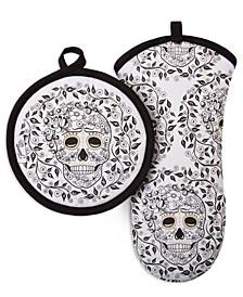 Skull & Vine 2-Pc. Oven Mitt & Pot Holder Set