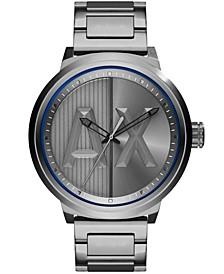 Men's Three Hand Gunmetal Gray Stainless Steel Watch 49mm