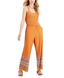 Mixed-Print Sleeveless Jumpsuit