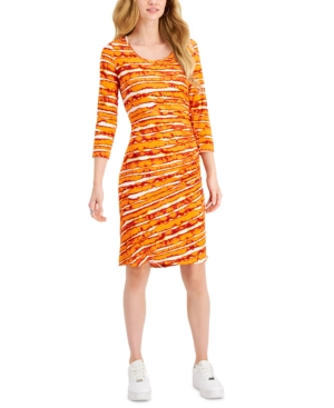 Printed Ruched-Side Dress