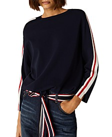 Striped-Sleeve Top