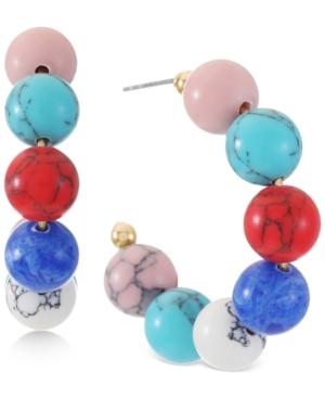 Gold-Tone Small Stone Bead C-Hoop Earrings