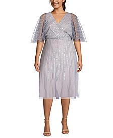 Plus Size Sequin Flutter-Sleeve Dress