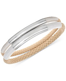 Silver-Tone 2-Pc. Set Curved Bar & Braided Rope Bangle Bracelets, Created for Macy's
