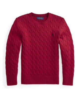 폴로 랄프로렌 Polo Ralph Lauren Big Boys Cable Knit Sweater,Park Ave Red