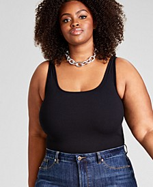 Trendy Plus Size Sleeveless Ribbed Knit Bodysuit, Created for Macy's
