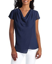 Women's Draped Overlay Blouse