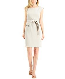 Petite Pebble Crepe Belted Dress