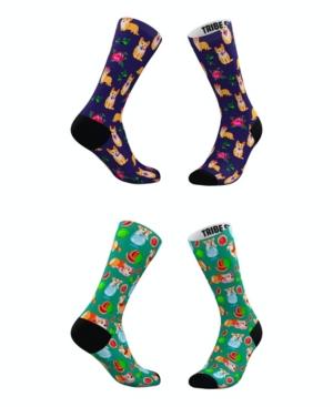 Tribe Socks MEN'S AND WOMEN'S CORGI FRUIT AND FLOWER SOCKS, SET OF 2