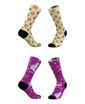 Tribe Socks MEN'S AND WOMEN'S UNICORN DREAMS AND DOUGHNUTS SOCKS, SET OF 2