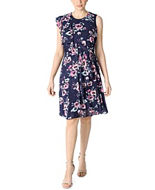Petite Floral-Print Fit & Flare Dress