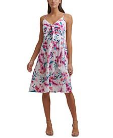 Cotton Tropical-Print A-Line Dress