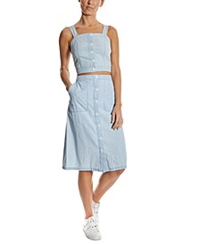 Striped Button-Front A-Line Skirt