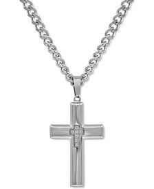 "Men's Diamond Cross 24"" Pendant Necklace (1/10 ct. t.w.)"