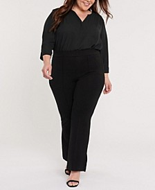 Plus Size Sculpt-Her Pull On Ponte Flare Leg Pant