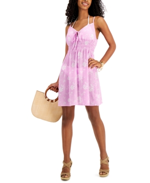 Juniors' Smocked Lace-Up Cover-Up Dress
