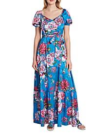 Floral-Print Puff-Sleeve Dress
