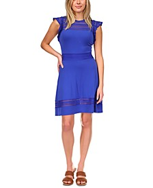 Mesh-Inset Dress, Regular & Petite Sizes