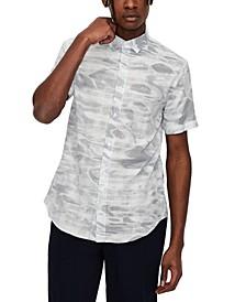Men's Regular-Fit Water-Print Plaid Dobby Shirt