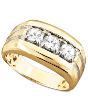 Men's 14k Gold Ring, Diamond Three Stone (1 ct. t.w.)