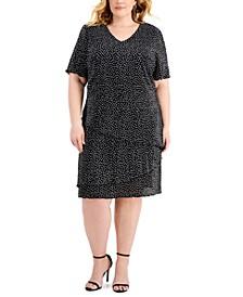 Plus Size Pleated Dot-Print Tiered Dress