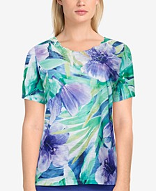 Petite Savannah Tropical-Print Top