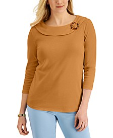 Solid Shawl-Collar 3/4-Sleeve Top, Created for Macy's
