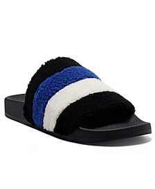 Women's Peymin Faux Shearling Pool Slides, Created for Macy's