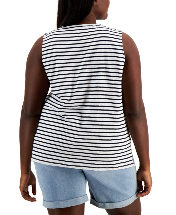 Tommy Hilfiger Plus Size Embroidered Star Tank Top & Reviews - Tops - Plus Sizes - Macy's