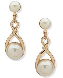 Gold-Tone Imitation Pearl Twisted Drop Earrings