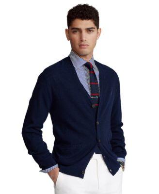 폴로 랄프로렌 Polo Ralph Lauren Mens Cotton-Linen V-Neck Cardigan,Bright Navy
