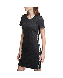 Logo Taping Lace Dress