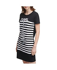 Stripe Eiffel Tower T-shirt Dress