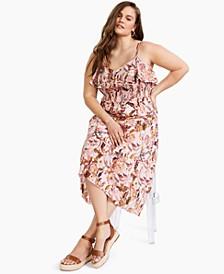INC Plus Size Smocked Ruffled Dress, Created for Macy's