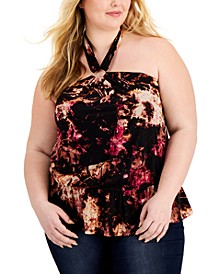 Plus Size Printed Keyhole Halter Top, Created for Macy's