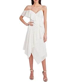 Metallic Ruffled Asymmetrical Dress