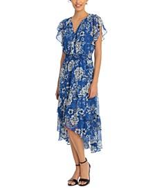 Petite Floral-Print Split-Neck Ruffled-Hem Midi Dress