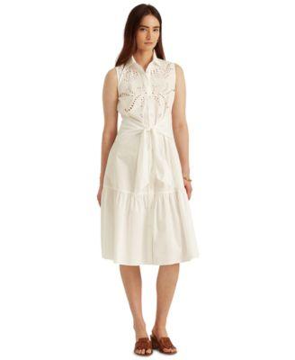 로렌 랄프로렌 Lauren Ralph Lauren Cotton Sleeveless Shirtdress,White