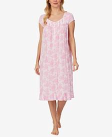 Floral-Print Jersey-Knit Waltz Nightgown