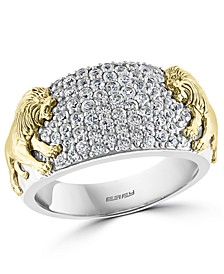 EFFY® Men's White Sapphire Lion Ring (1-3/8 ct. t.w.) in Sterling Silver & 14k Gold-Plate