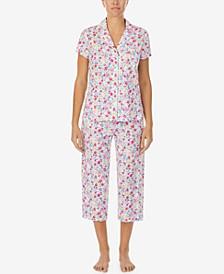 Printed Knit Capri Pants Pajama Set