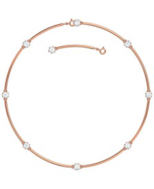 "Rose Gold-Tone Crystal Station Choker Necklace, 15"" + 2"" extender"