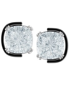 Silver-Tone Crystal Floating Stud Earrings