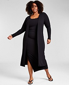 Trendy Plus Size Ribbed Knit Bodysuit, Skirt & Duster, Created for Macy's