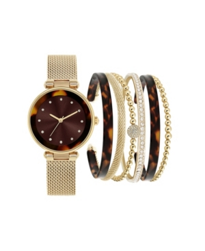 Jessica Carlyle Women's Gold-Tone Mesh Strap Analog Watch with Brown Tortoise Stackable Resin Bracelets Gift Set